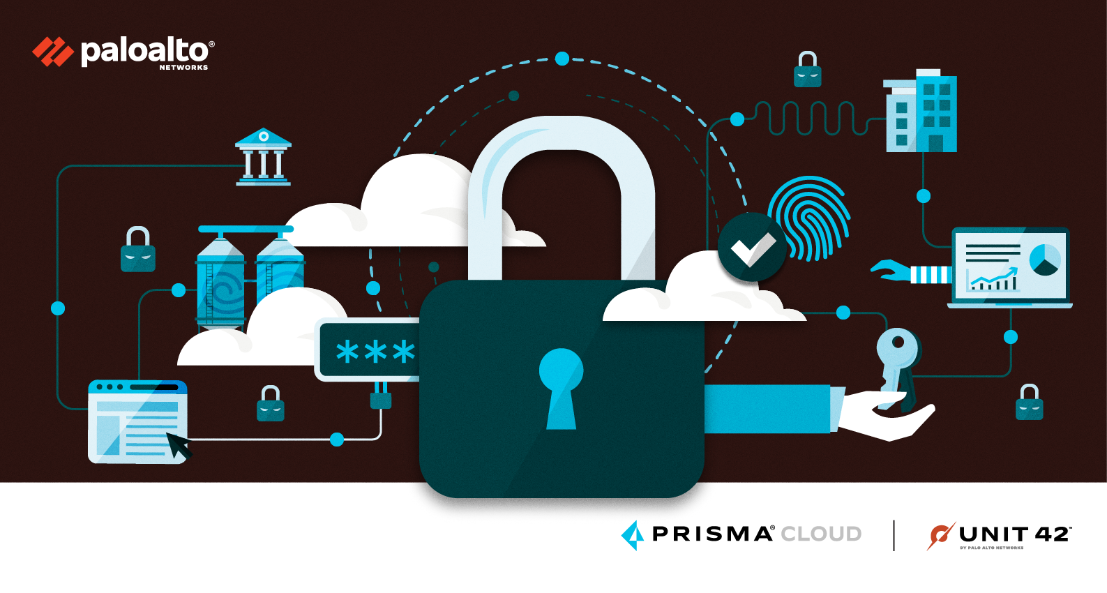 A conceptual image representing cloud security, associated with the Unit 42 Cloud Threat Report, 2H 2021.