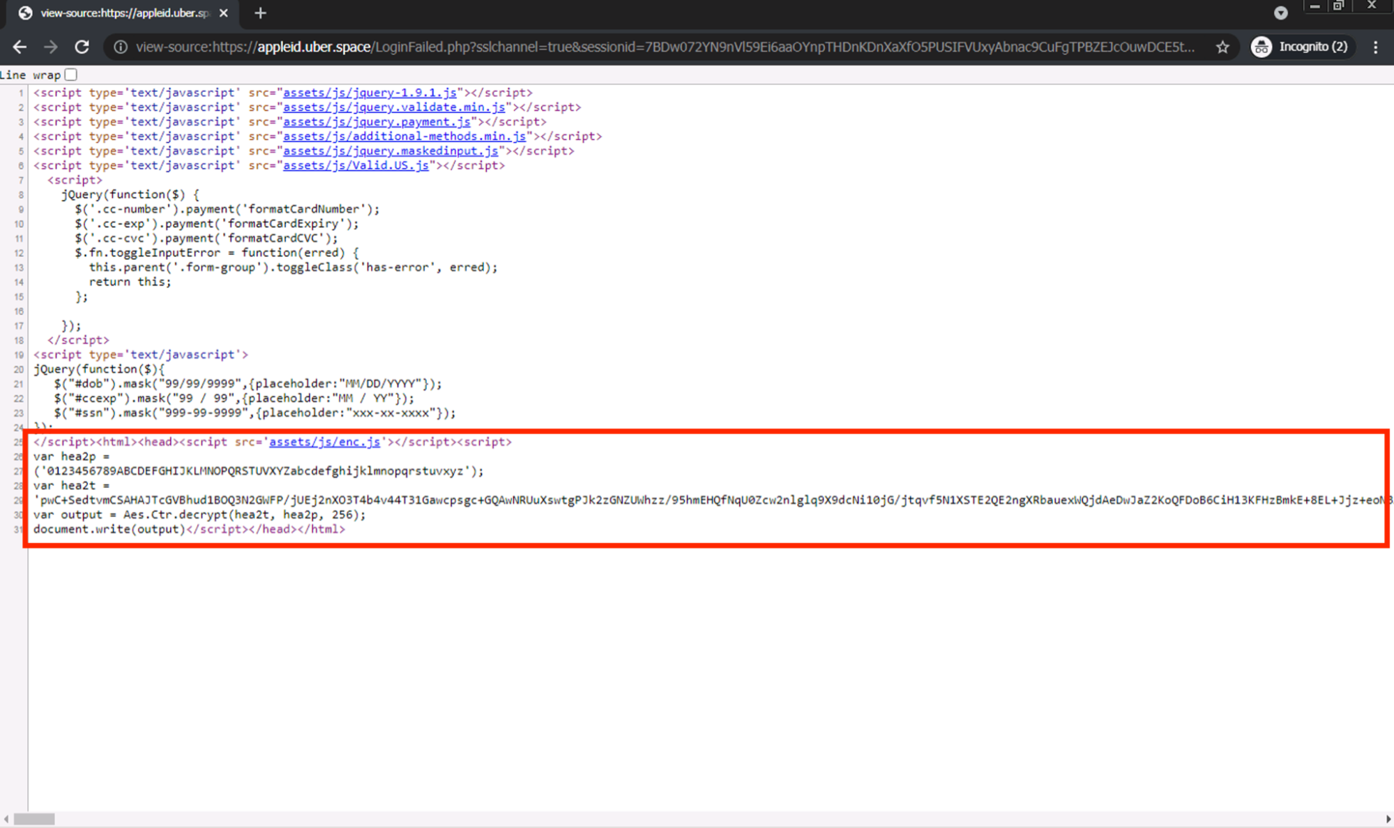 After investigating the source code behind the page, we see that most of the page content does not exist directly within the main body of the HTML. Rather, there is a large script tag at the bottom of the HTML source, as shown. This is an example of the JavaScript-based phishing approach discussed here.
