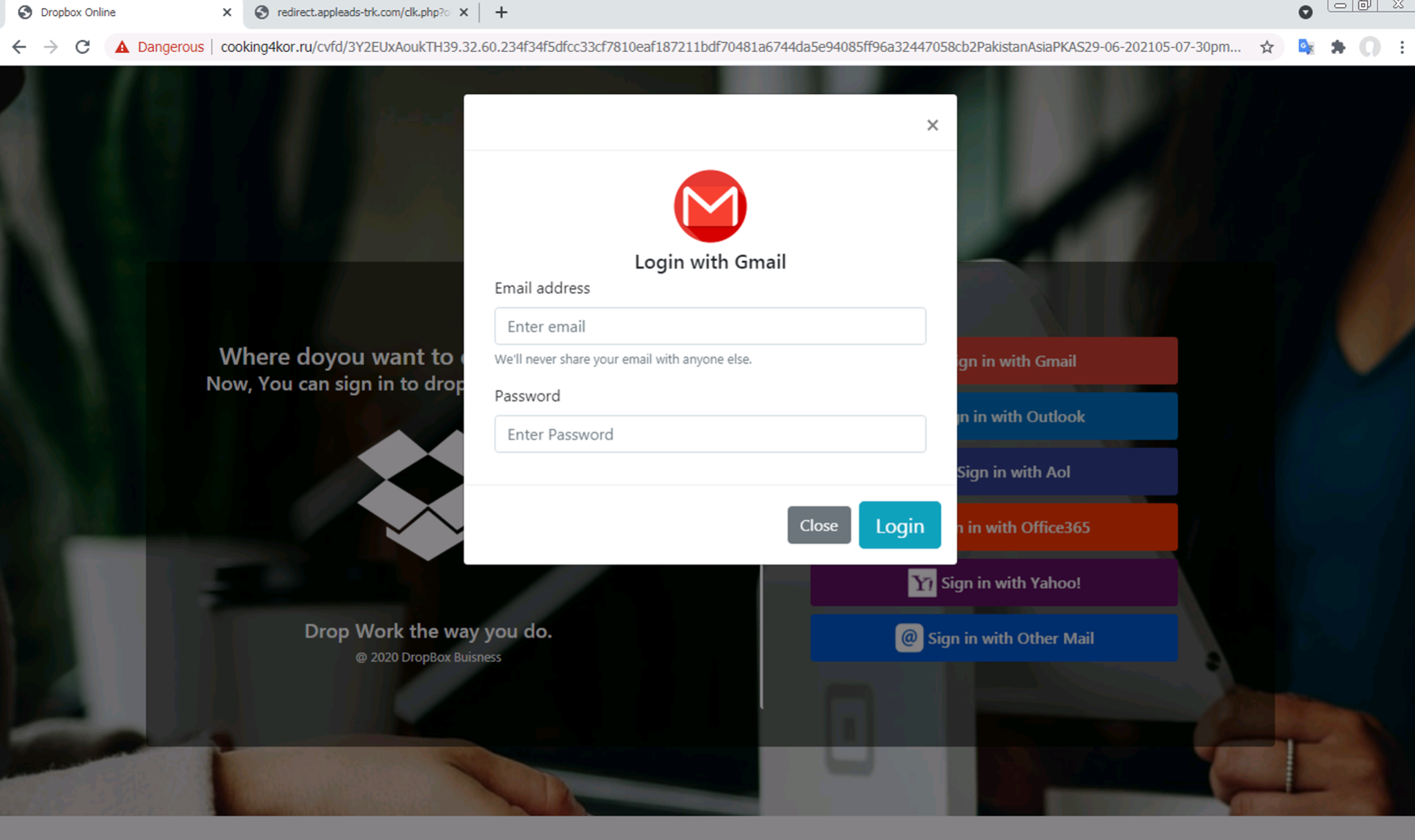 """After clicking either a """"Sign in with Gmail"""" button or a """"Sign in with Outlook"""" button, the user is presented with a modal asking for their login information."""