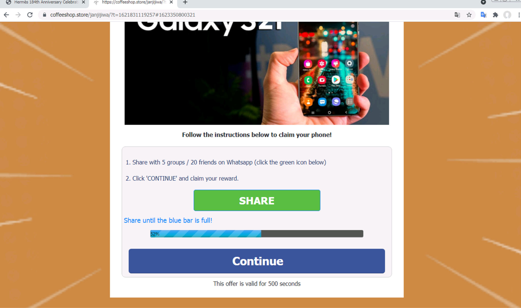 If the victim of the scam page shown follows the page's instructions to share it on WhatsApp, the blue bar shown on the page is incremented farther toward the right.