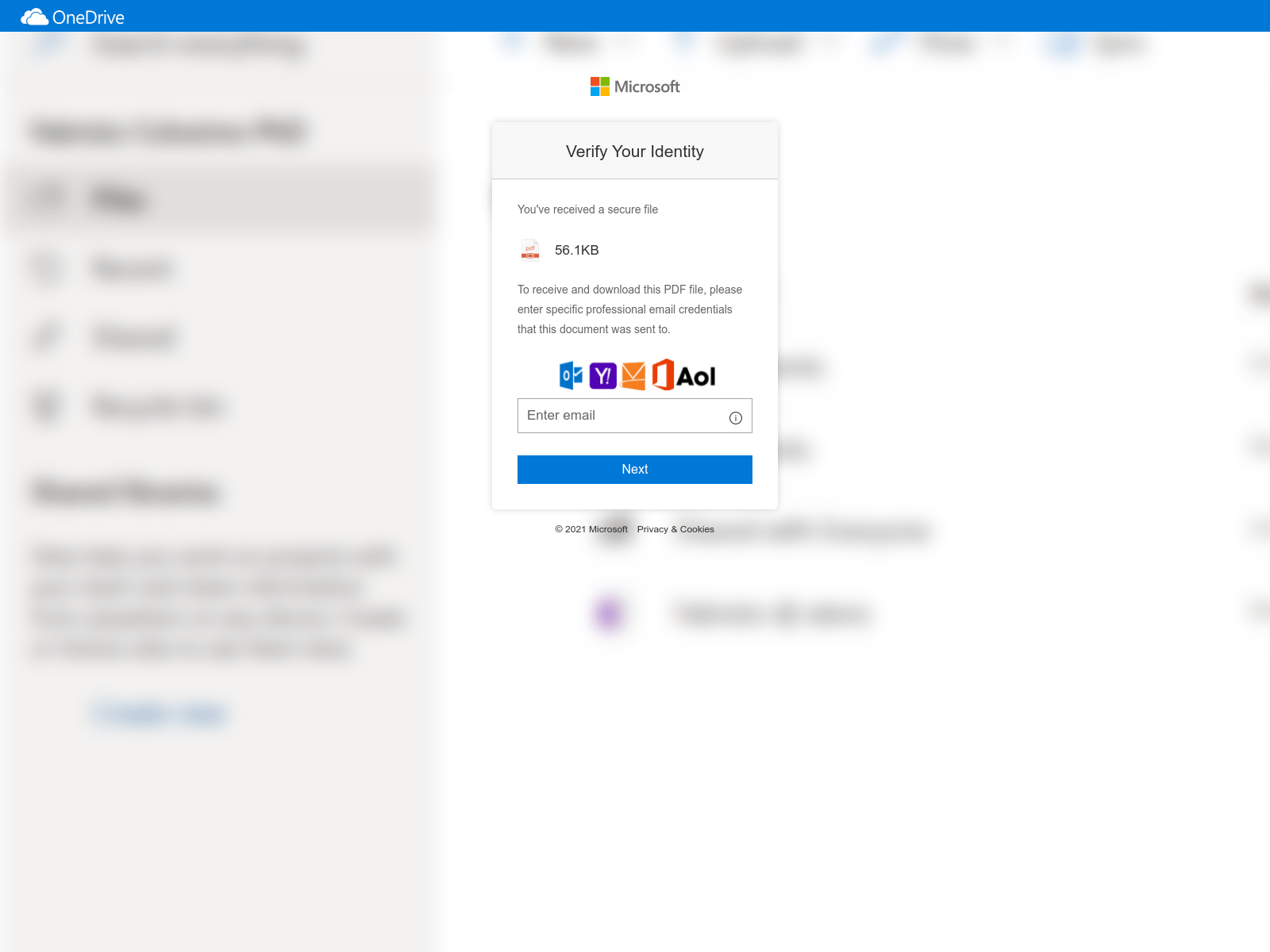 Another malicious login request impersonating Microsoft. Attackers often attempt to create a sense of legitimacy through the use of company logos as shown.